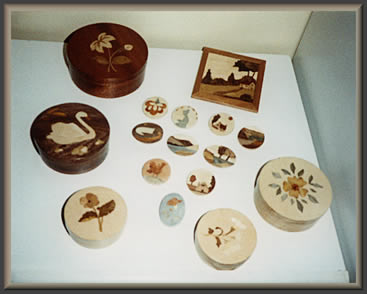 Applied Marquetry items by Doreen Marsh