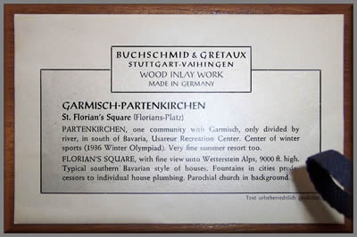Label from rear of another B & G picture